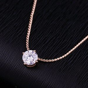*NEW 2 CT Solitaire Diamond 18K Rose Gold Necklace